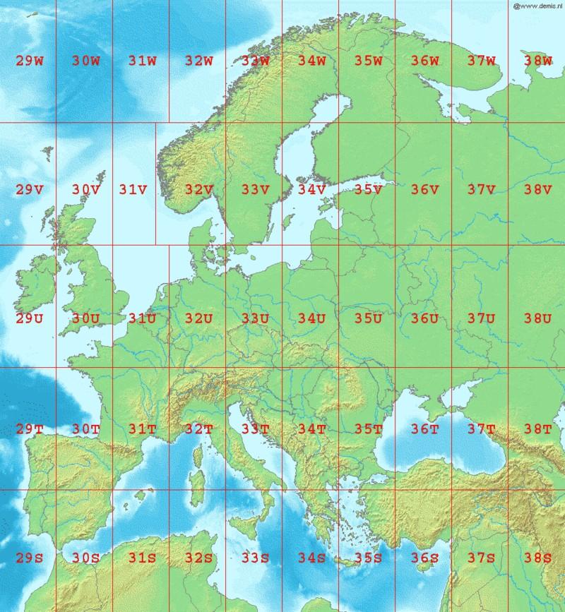 Ζώνες UTM στην Ευρώπη
