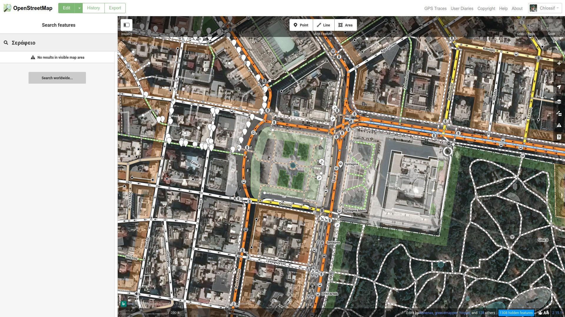OSM Εστίαση στην περιοχή του Σεράφειου
