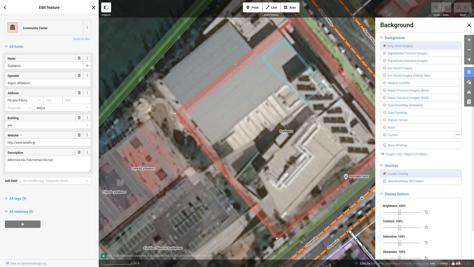 Ο επεξεργαστής iD του OSM στο Σεράφειο