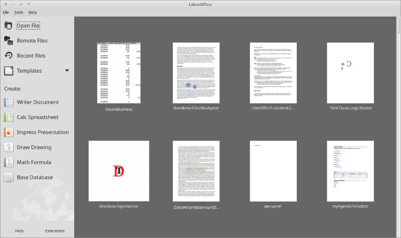 LibreOffice Start Center