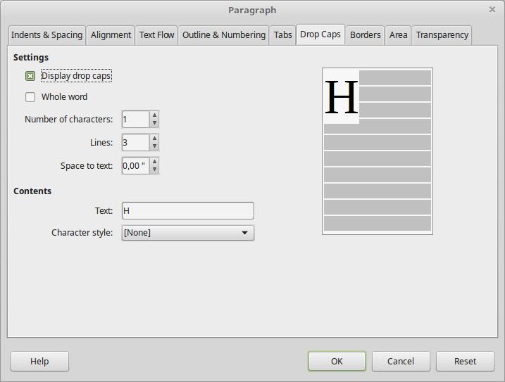 Paragraph formatting options window