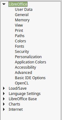 LibreOffice Options Dialog