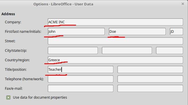 User Data Options