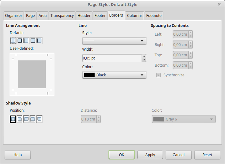 56c36ea3b6a ... icon on the Page panel of the Properties deck in sidebar to open the  Page Style dialog and select the Borders Tab.
