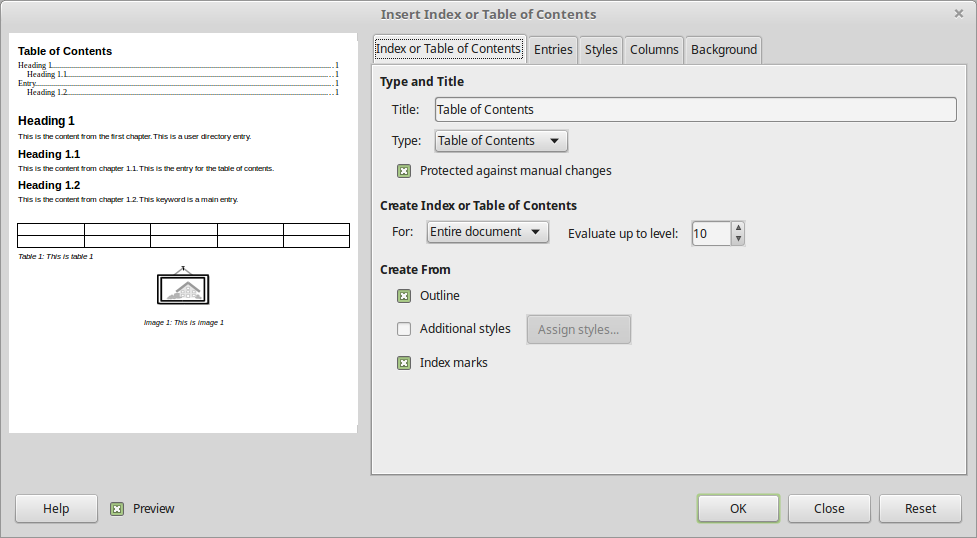Libreoffice Table Of Contents