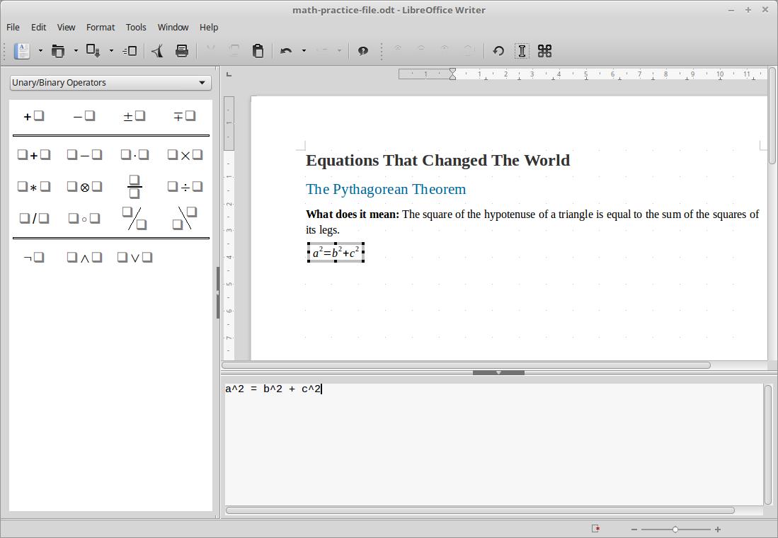 LibreOffice: Math formula editor