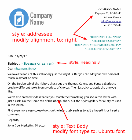 Assignment create a business letter template accmission