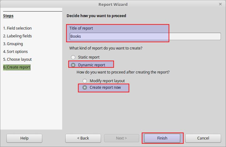 LibreOffice: Reports
